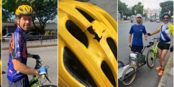 En esta composición se puede observar la fractura del casco y su bici no convencional
